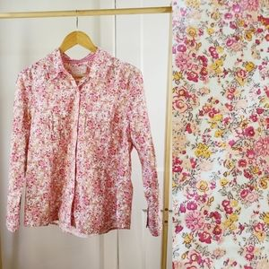 Floral Button Down Pink Coral Blush Country